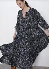 Worn Once ZARA The Angel Midi Maxi Black & White Floral Smock Dress S 8/10
