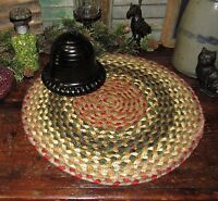 "Primitive 100% Natural Braided Jute Swatch, 15"" Trivet Placemat ROUND MAT #24"
