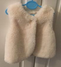 🌸George Baby Girls Faux Fur Gilet Bolero Cream Age 3-6 Months 62-68cm🌸