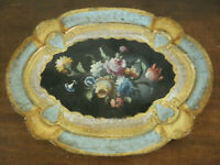 Bellissimo Antico VASSOIO Dorato Fiorentino in LEGNO DORATO 27,50x20 cm