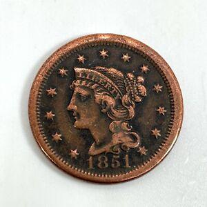 1851 Braided Hair Large Cent Redbook VG & Better