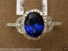 White Gold Oval Halo Vintage Genuin Sapphire Diamonds Engagement Wedding Ring