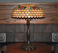 Antique Arts and Crafts  J. A. Whaley Leaded Lamp with Pink Flowers