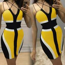 Summer Ladies Sexy Strap Backless Dress Bodycon Deep V-Neck Package Hip Dress US