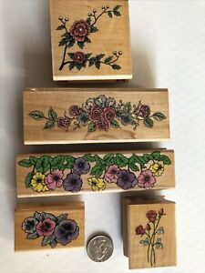 Lot of 5 Vintage Rubber Stamps Roses Pansies STAMPABILITIES + HERO ARTS + MORE!