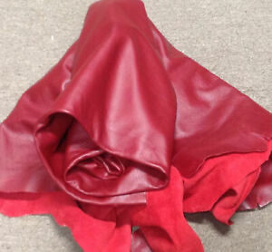 2 POUNDS BEAUTIFUL GENUINE RED LEATHER COW HIDE  GREAT FOR CRAFTS