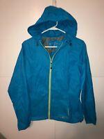 Eddie Bauer Women's Lightweight Nylon Full Zip Hooded Blue Jacket Size Medium M