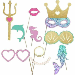 12pcs Mermaid Crown Photo Booth Props Wedding Birthday Party Decoration Selfie
