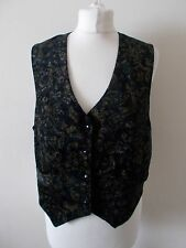 Women's Vintage Black Gold Pattern Waistcoat Vest by Valenzia  Size 14