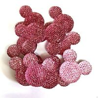 x10 Light Pink Glitter Sparkle Mouse Ears Charms Dummy Clips