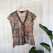 SPORTSCRAFT 100% Silk Sheer Blouse Size 10 Floral Orange Brown Pintuck Vintage