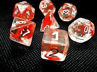 RPG 7 teilig Würfel Set Tabletop DND Poly Rot dice4friends w4-w20 Rollenspiel