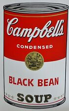 ANDY WARHOL CAMPBELLS' BLACK BEAN Soup Can SUNDAY B.MORNING Silkscreen Print COA