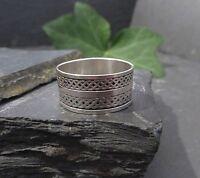 Schöner 925 Silber Ring Knoten Keltisch Mystisch Rillen Muster Struktur Breit