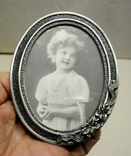 """Pewter 3"""" x 5"""" Oval Picture Frame Holds 2½ x 3 inch photo NOS"""