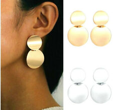 STATEMENT ROUND GOLD DROP STUD EARRINGS 35MM