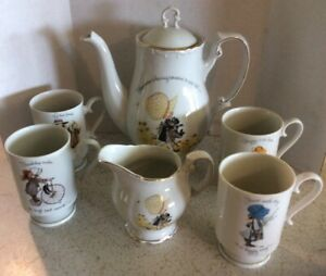 Holly Hobbie Tea Pot Creamer Tea Set Porcelain 4 Mugs 1973