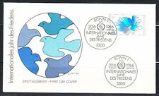 Germany 1986 Fdc cover Mi 1286 Sc 1465 Doves birds,Peace Year.Ersttagsbrief