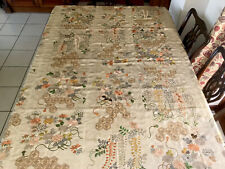 """More details for vintage large hand embroidered printed silk lined panel throw gold work 67x67"""""""