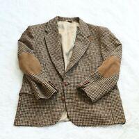 VTG Orvis Mens Harris Tweed Scottish Wool Blazer Sport Coat w/ Suede Elbow Patch