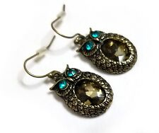 Jeweled Bronze Color Rhinestone Owl Earrings