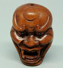 "1940's Japanese handmade Boxwood Netsuke ""Devil Mask"" Figurine Carving MJ01"