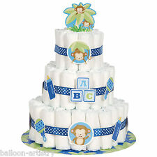 Little Monkey Blue Boy Baby Shower Party Diaper Nappy Cake Decoration Kit