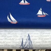 Shabby Chic Blue Boat 100% Cotton Fabric. Price per 1/2 meter