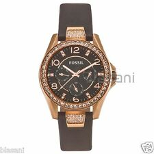 Fossil Original ES3888 Women's Riley Gray Leather Multifunction Watch 38mm