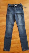 [P025] bebe High Waist Belted Skinny Jeans Sz 25 Blue