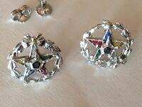Vintage Order Of Eastern Star Earrings 10K 14K White Gold Shriner Masons OES