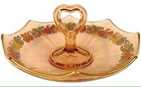 PINK DEPRESSION GLASS BOWL DISH HEART HANDLE FRUIT MEDLEY BORDER GOLD TRIM 7.5""