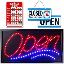 """Neon Open Sign for Business: Jumbo Lighted Sign Open with 24"""" x 13"""" Model 1"""
