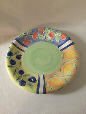 "BELLA  CERAMICA  DINNER PLATE COLORFUL FRUIT 11"" Cherries Peaches Blueberries"