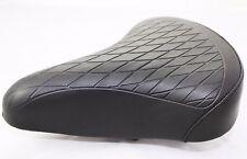 Retro Vintage Vinyl Saddle - Black Quilted Top- Dual Spring - Cruiser Seat