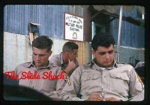 US Army soldiers military police customs Vietnam War original 1964 35mm slide
