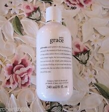 ~PHILOSOPHY~PURE GRACE~3 in 1 SHAMPOO, BATH & SHOWER GEL~8 oz. *NEW*