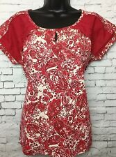 NEW NEXT 8 Red Cream Floral Jersey Lace Shoulder Longline Tunic Top