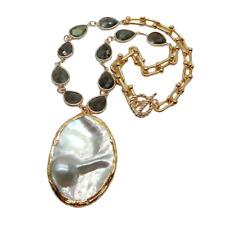 "18"" Teardrop Labradorite Chain Necklace Big Mabe Pearl Pendant"
