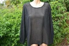 SUSSAN Black TOP SIZE XL Stylish Rounded Hem NEW RRP$89.95 Mesh Dots L/Sleeve
