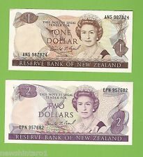 #D224.  LAST PREFIX NEW ZEALAND $1 & $2 BANKNOTES