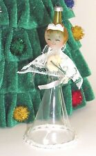Vintage Italy Italian Angel Blown Glass Christmas Figural Ornament Lace Flowers