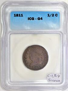 1811 Classic Head Half Cent ICG G-4; C-1, R-4; Scarce!