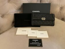 Chanel CC Logo Boy Ruthenium Chain Calfskin Leather Flap Long Wallet Black NIB!!