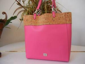 EUC WOMENS RALPH LAUREN HANWAY CORK TOP PINK LEATHER TOTE TRAVEL BEACH BAG $198