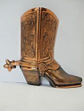 "ART DECO BRONZE WESTERN COWBOY BOOT wit SPUR WALL VASE SCULPTURE  8"" Tall"