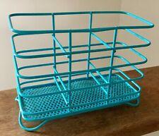 Bright Blue Metal Wire Real Home Kitchen Utensil Cutlery Storage Holder Drainer