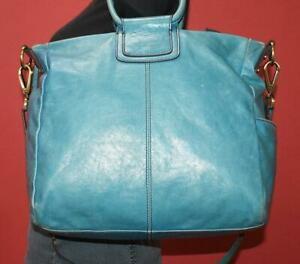 HOBO INTERNATIONAL SHEILA Glazed Blue Leather Crossbody Shoulder Purse Bag $328