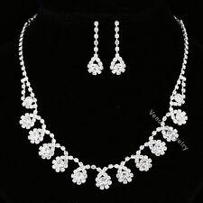 Bridal Wedding Jewelry Prom Rhinestone Crystal Necklace Earrings Set N311