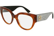 Gucci Women's Cat Eye Optical Frames GG0103O 004 Havana / Silver Optical Frame
